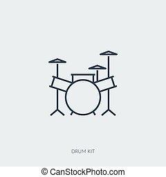 icono, kit, tambor, música, -, vector, contorno