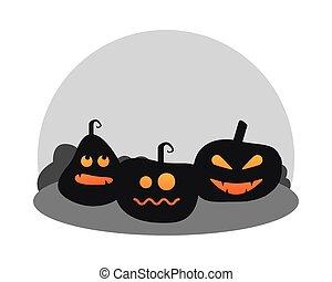 icono, linternas, calabazas, caras, halloween, tres