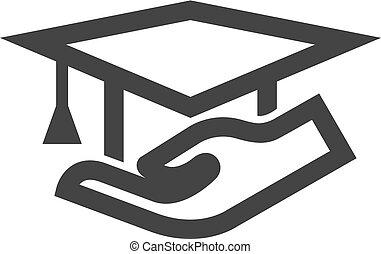icono, llevar a cabo la mano, contorno, -, diploma