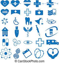 icono médico azul abstracto