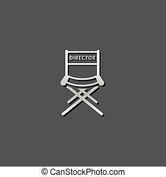 icono metálico, silla de director de cine