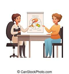 icono, nutricionista, caricatura