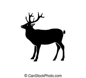 icono, o, fondo., deer., blanco, icon., logotipo, aislado, silueta, vector