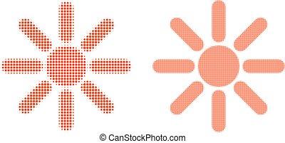 icono, pixel, rayos sol, halftone