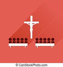 icono plano con sombras largas personas en la iglesia