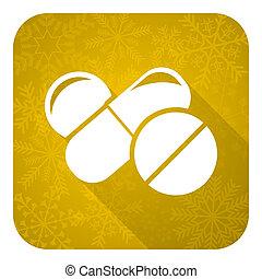 icono plano de la medicina, botón de Navidad de oro, símbolo de drogas, signo de pastillas