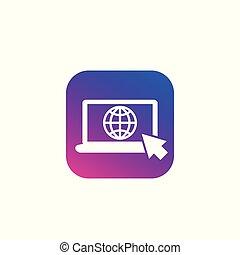 icono, red, computador portatil, conexión