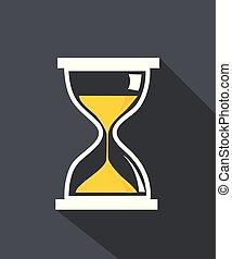 icono, reloj de arena, aislado, tiempo