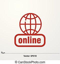 Icono rojo en línea con ícono de la red global.