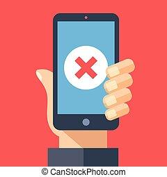 Icono rojo x en pantalla de smartphone. Mano sosteniendo smartphone con cruz roja. Diseños gráficos de diseño modernos para telarañas, sitios web, materiales impresos, infográficos. Ilustración de vectores