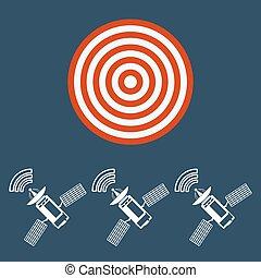 Icono satélite de comunicación con células solares. El concepto del objetivo.