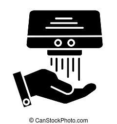 Icono secador de manos, ilustración vectorial, signo negro en el fondo aislado