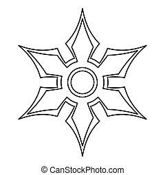 icono, shuriken, estilo, contorno