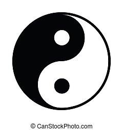 icono, simple, estilo, yang de ying