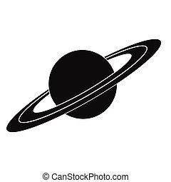 icono, simple, saturno, negro