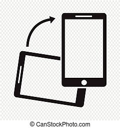 icono, smartphone, gire
