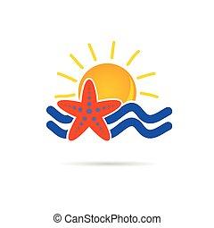 icono solar con vector de color estrella del mar