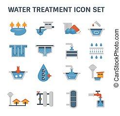 icono, tratamiento, agua