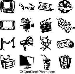 Icono vector de cine fijado