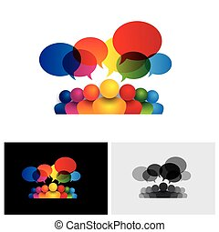 Icono vector de comunicación social o reunión de personal o niños hablando