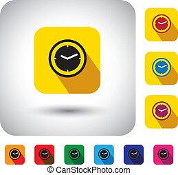Icono vector de diseño plano - botón con simple reloj o señales de reloj. Este símbolo gráfico con sombras largas también representa la hora, minutos  ⁇  segundos en el presente, el tiempo ahora, etc