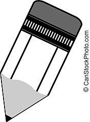 Icono vector de lápiz en negro en un fondo blanco.