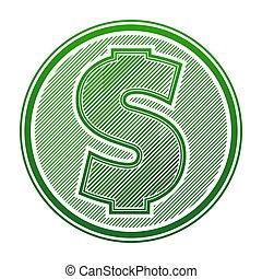 icono vector del dólar aislado en blanco