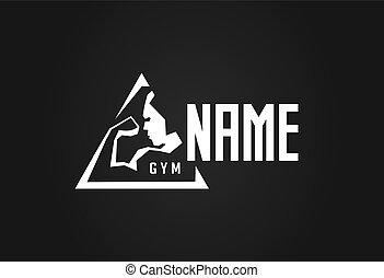Icono vector del gimnasio. Contorno estilizado de culturismo inflado o atleta mostrando bíceps y tríceps. Diseño de concepto para GYM Hall.