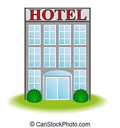icono, vector, hotel