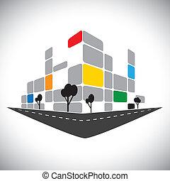 Icono Vector, oficina comercial edificio de rascacielos de la ciudad. Este gráfico también puede representar estructuras comerciales urbanas, hoteles, súper centros, bancos, horizontes, rascacielos, etc