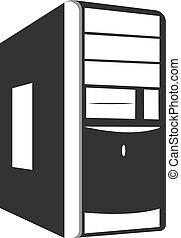 icono, vector, unidad, sistema, computadora, plano, housing., negro