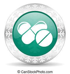 icono verde medicinal, botón de Navidad, símbolo de drogas, signo de pastillas