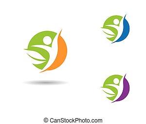 icono, vida, vector, sano, plantilla, logotipo