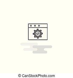 Icono web de programación web. Línea plana llena de vector de icono gris