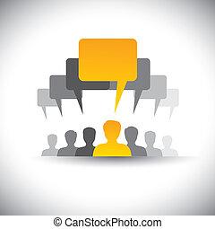 iconos abstractos del personal de la empresa o reunión de empleados - vector gráfico. Este gráfico también representa la comunicación de las redes sociales, reuniones de la junta, la unión de estudiantes, la voz de la gente, el liderazgo del líder, etc