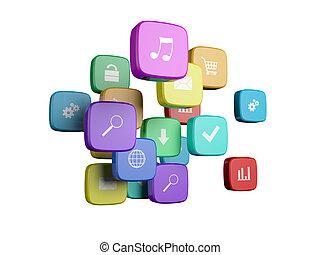 iconos, aislado, programa, nube, plano de fondo, blanco, concept:, software
