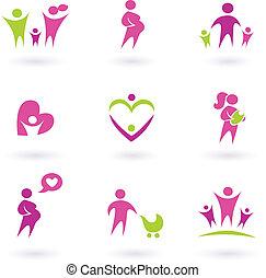 iconos, -, aislado, salud, embarazo, rosa, maternidad, blanco
