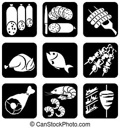 iconos, alimento, carne