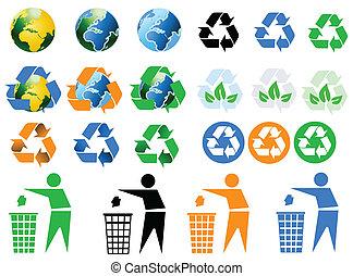 iconos, ambiental, reciclaje