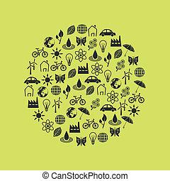 iconos ambientales en círculo
