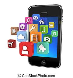 iconos, app, smartphone, aislado, -