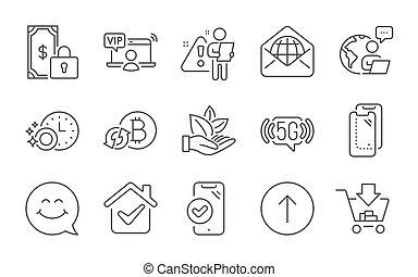 iconos, aprobado, smartphone, pago, 5g, teléfono, orgánico, wifi, arriba, producto, vidrio, privado, set., vector, signs., golpetazo