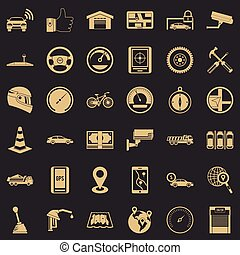 Iconos automotriz establecidos, estilo simple