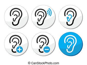 iconos, ayuda, sordo, problema, oreja, oído