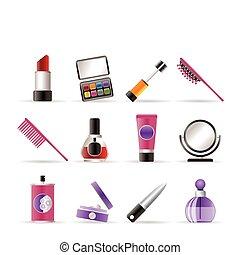 iconos, belleza, maquillaje, cosmético