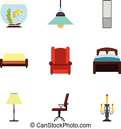 Iconos caseros establecidos, estilo plano