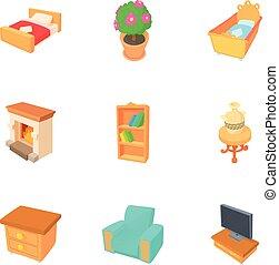 Iconos caseros, estilo de dibujos animados