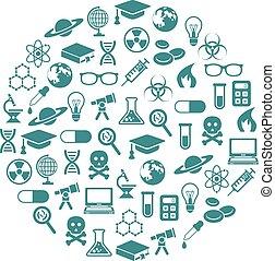 iconos científicos en círculo
