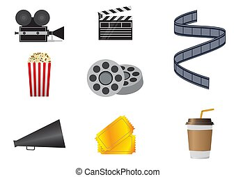 iconos, cine, conjunto