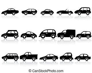 iconos, coche, silueta
